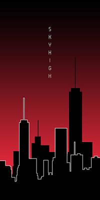 Megacity Digital Art - Graphic Art Skyhigh Panoramic - Red by Melanie Viola