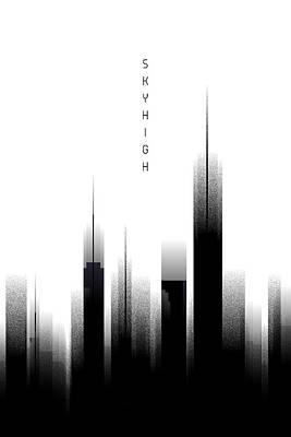 Graphic Art Skyhigh - White Art Print by Melanie Viola