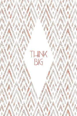 Graphic Art Think Big - Rose Gold And Marble Art Print
