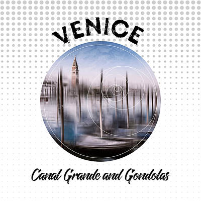 Graphic Art Venice Canal Grande And Gondolas Art Print by Melanie Viola