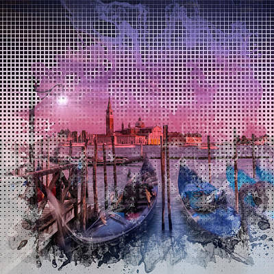 Abstract Sights Digital Art - Graphic Art Venice Gorgeous Sunset by Melanie Viola