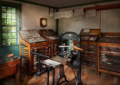 Clock Shop Photograph - Graphic Artist - The Print Office - 1750  by Mike Savad