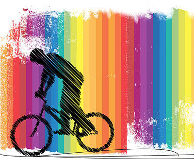 Cycling Action Painting - Graphic Ink Sketch Of Cyclist On Stripes by Elaine Plesser