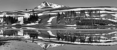 Photograph - Graphic Mountain Reflection In Black And White by Nadalyn Larsen