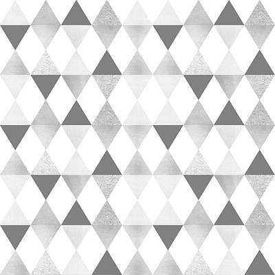 Repeat Digital Art - Graphic Pattern Geometric Triangles - Lightgrey And Silver by Melanie Viola