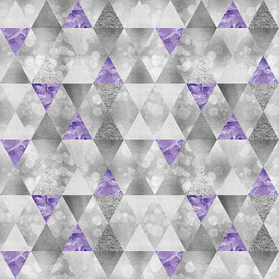 Repeat Digital Art - Graphic Pattern Sparkling Triangles - Silver And Purple by Melanie Viola