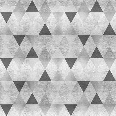 Repeat Digital Art - Graphic Pattern Sparkling Triangles - Silver by Melanie Viola