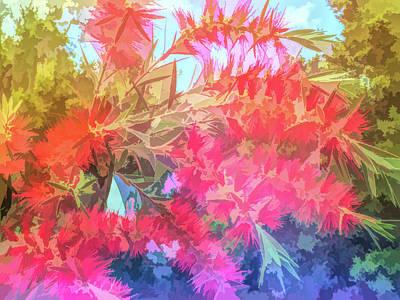 Graphic Rainbow Red Bottlebrush Art Print
