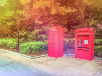 Photograph - Graphic Rainbow Red Telephone Booth by Aimee L Maher ALM GALLERY