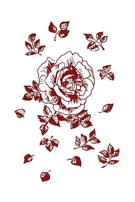 Drawing - Graphic Red Rose With Leaves by Masha Batkova
