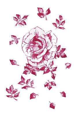 Drawing - Graphic Pink Rose With Leaves by Masha Batkova