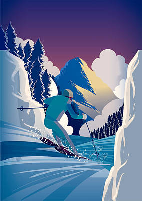 Winter Sports Painting - Graphic Skiing Down The Mountain by Elaine Plesser