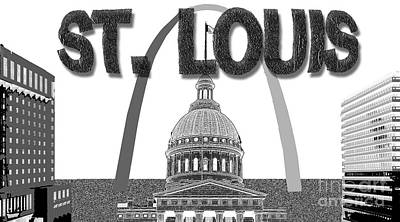 Saint Louis Mixed Media - Graphic St. Louis by Pharris Art