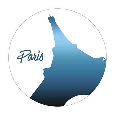 Graphic Style Paris Eiffel Tower Blue Print by Melanie Viola
