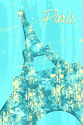 Graphic Style Paris Eiffel Tower Cyan Art Print