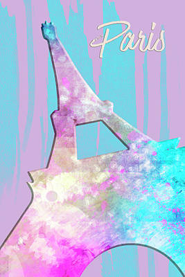 Paris Digital Art - Graphic Style Paris Eiffel Tower Pink by Melanie Viola