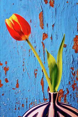 Graphic Yellow Orange Tulip Art Print
