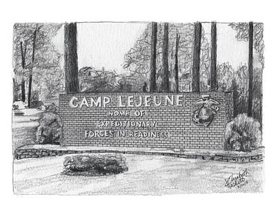 Painting - Graphite Camp Lejeune Welcome by Betsy Hackett