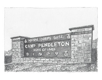 Painting - Graphite Camp Pendleton Welcome by Betsy Hackett