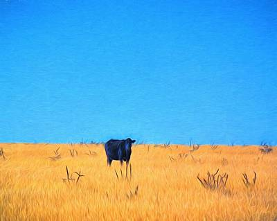 Grass Cow Sky Art Print by Jim Buchanan