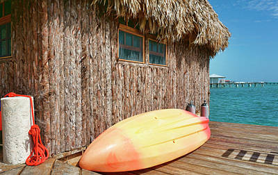 Photograph - Grass Hut On Ambergris Caye Belize by Waterdancer