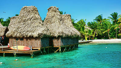 Photograph - Grass Huts On The Water Of Ambergris Caye Belize by Waterdancer