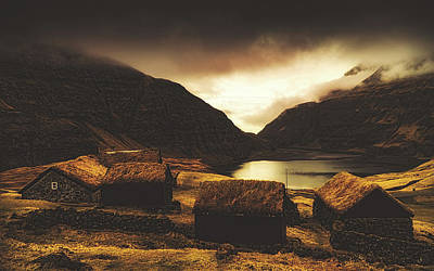 Photograph - Grass Roofed Cottages - Faroe Islands by Unsplash