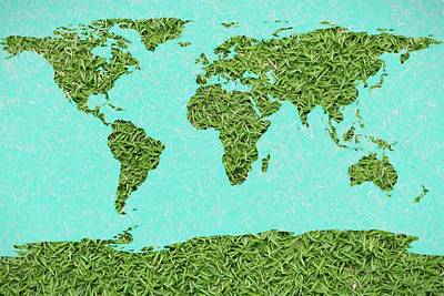 West Africa Mixed Media - Grass World Map by Dan Sproul