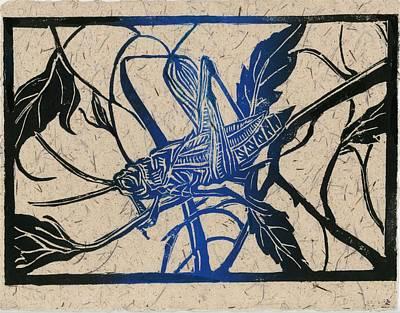 Painting - Grasshopper Lino Cut Print by Alfred Ng