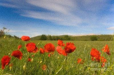 Print featuring the photograph Grassland And Red Poppy Flowers by Jean Bernard Roussilhe
