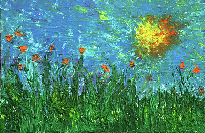 Painting - Grassland With Orange Flowers by Erik Tanghe