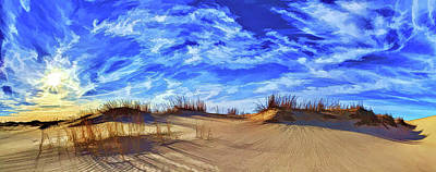 Digitally Manipulated Photograph - Grassy Dunes At Sandhills by ABeautifulSky Photography