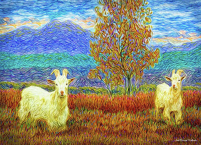 Digital Art - Grassy Meadow Goats by Joel Bruce Wallach
