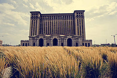 Grassy Michigan Central Station - Detroit Art Print