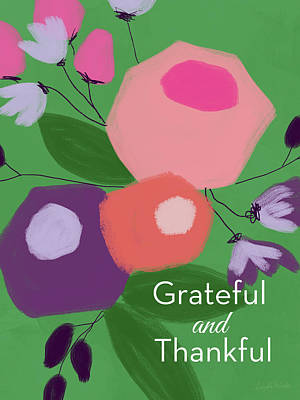 Grateful And Thankful Flowers 1- Art By Linda Woods Art Print
