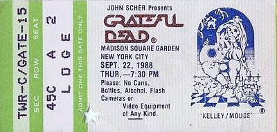 Photograph - Grateful Dead - Loge Ticket by Susan Carella