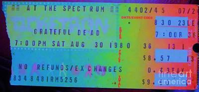 Grateful Dead - Ticket Stub Art Print by Susan Carella