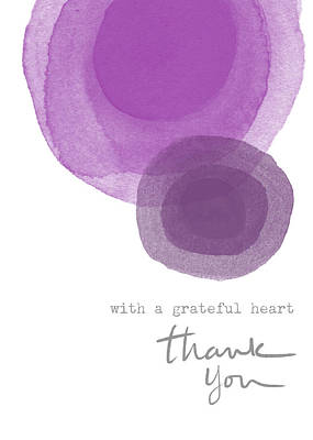 Grateful Heart Thank You- Art By Linda Woods Art Print by Linda Woods