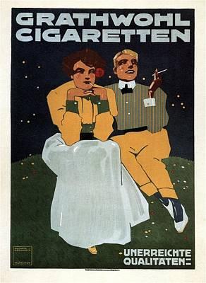 Mixed Media - Grathwohl Cigaretten - German - Vintage Advertising Poster by Studio Grafiikka