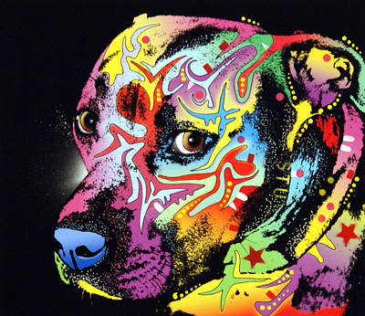 Pitty Painting - Gratitude Pit Bull Warrior by Dean Russo