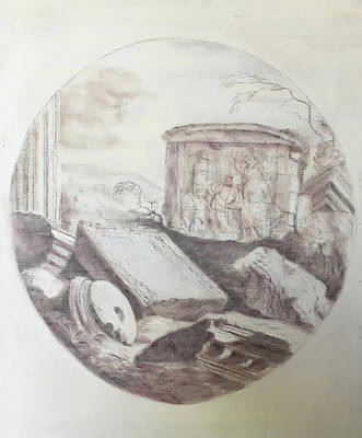 Drawing - Grave Among Ruins by Paez ANTONIO