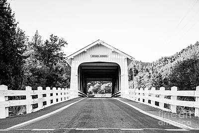 Photograph - Grave Creek Bridge - Bw by Scott Pellegrin