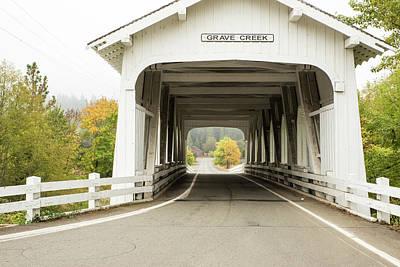 Photograph - Grave Creek Covered Bridge 6 by Tom Cochran