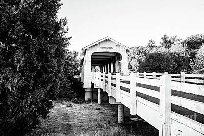 Grave Creek Covered Bridge - Bw Art Print