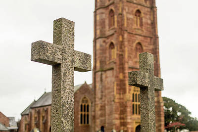 Photograph - Grave Cross With Blurred Church In Background E by Jacek Wojnarowski