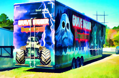 Grave Digger Experience Truck  Art Print by Lanjee Chee