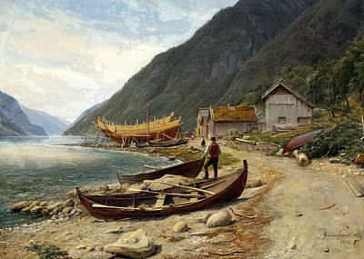 Fearnley Painting - Gravensfjord by Thomas Fearnley