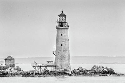 Graves Lighthouse- Boston, Ma - Black And White Art Print by Peter Ciro
