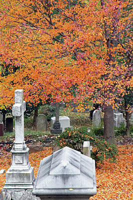 Photograph - Graves With Autumn Leaves by Cora Wandel