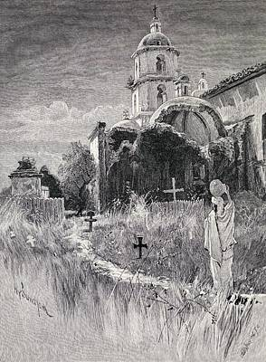 Graveyard Drawing - Graveyard And Mission San Luis Rey De by Vintage Design Pics